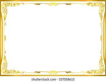 Gold photo frame with corner thailand line floral for picture, Vector design decoration pattern style. wood border design is patterned Thai style