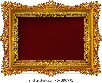 f4b42aa59ad2 Gold photo frame with corner thailand line floral for picture, Vector  design decoration pattern style