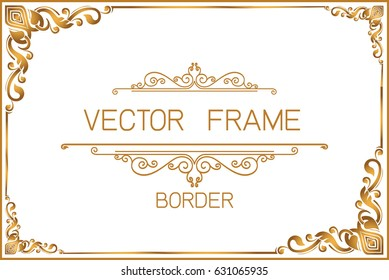 Gold photo frame with Thai style border, line corners. Decoration wood style vector design pattern floral for picture frame.