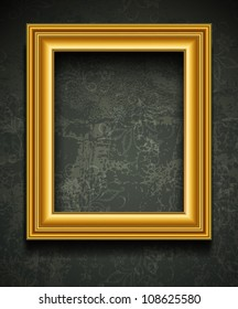 Gold photo or picture frame vector. Ornate painting vintage border on wall background