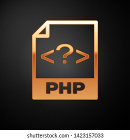Gold PHP file document icon. Download php button icon isolated on black background. PHP file symbol. Vector Illustration
