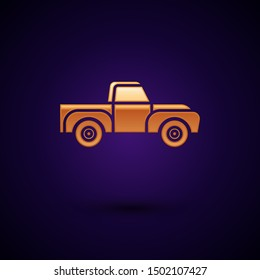 Gold Pickup truck icon isolated on dark blue background.  Vector Illustration