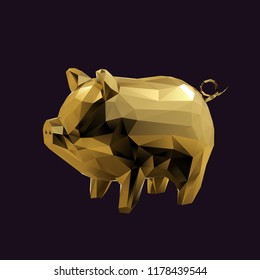 Gold Pig Low Poly Vector 3D Rendering