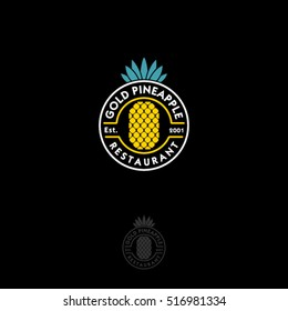 Gold pineapple logo. Restaurant emblem. Pineapple with letters in a circle on a dark background. Stamp logo.