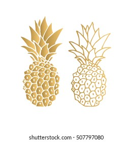 Gold pineapple. Vector illustration. Isolated.
