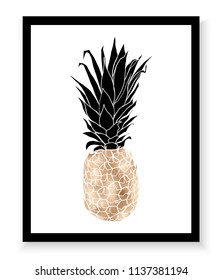 Gold pineapple wall art print.
