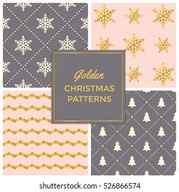 Gold Pink Festive seamless pattern collection - snowflakes, christmas trees and zigzag patterns in gold, grey and cinderella pink