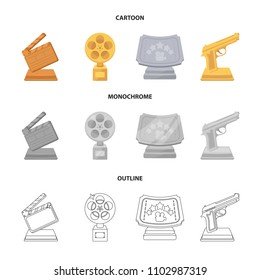 Gold pistol, silver prize for the best supporting role and other prizes.Movie awards set collection icons in cartoon,outline,monochrome style vector symbol stock illustration web.