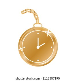 Gold Pocket Watch Wrist Watch Vector Isolated Illustration Background