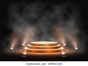 Gold podium on dark background with smoke. Empty pedestal for award ceremony. Platform illuminated by spotlights. Vector illustration.