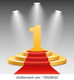 Gold podium with a red carpet. The winner is in first place. Bright white light from searchlights. Gold pedestal. Number one. Festive event. Vector illustration