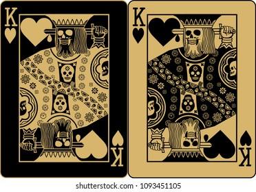 gold poker card king of heart
