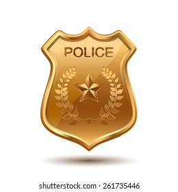 Gold Police Badge isolated on white background