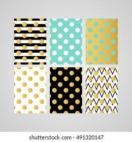 gold polka dot patterns set