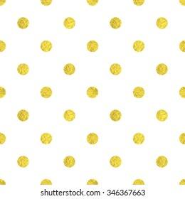 Gold polka dot seamless vector pattern.