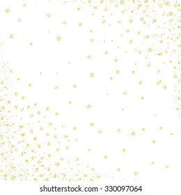 Gold polka dots design template. Vector background.