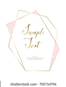 Gold polygonal frame with golden glitter triangles, geometric, diamond shapes.