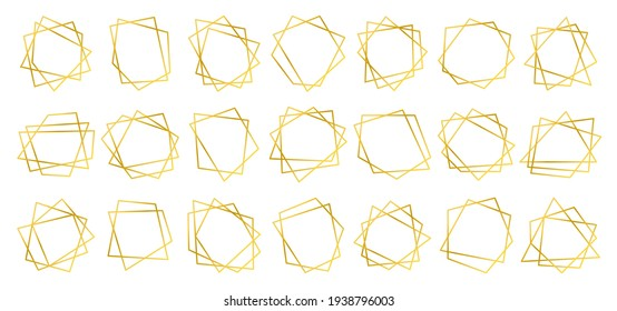 Gold polygonal geometric frames isolated on white. Design elements for wedding invitation card, different celebration, poster, flyer, banner. Decorative lines borders. Collection for graphic design.