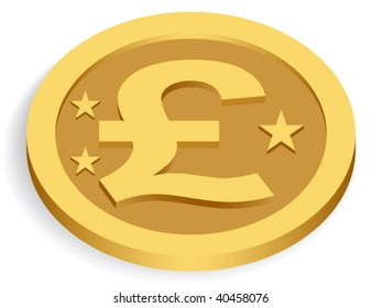 gold pound coin isolated on white, vector illustration