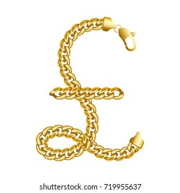 Gold pound sterling money sign made of shiny thick golden chains with a lobster claw clasp lock. Realistic vector detailed illustration isolated on a white background.