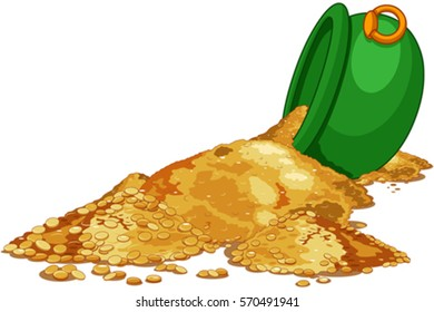 Gold poured from the Cauldron. Saint Patrick Day illustration