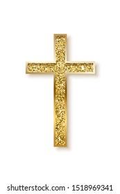 Gold prayer cross realistic vector illustration. Luxurious jewelry, elegant accessory. Precious metal jewel on white background. Christian faith, catholic religion symbol