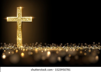 Gold prayer cross realistic vector illustration. Luxurious jewelry, elegant accessory under golden glitter rain. Precious metal jewel on black background. Christian faith, catholic religion symbol