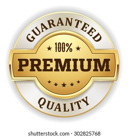 Gold premium quality badge on white background