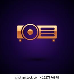 Gold Presentation, movie, film, media projector icon isolated on dark blue background.  Vector Illustration