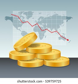 Gold price concept. Golden coins price falling down graph and chart with world map background. vector illustration.