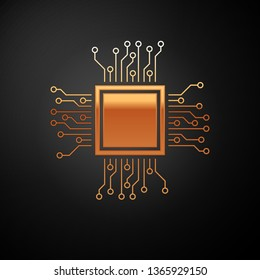 Gold Processor icon isolated on black background. CPU, central processing unit, microchip, microcircuit, computer processor, chip. Vector Illustration