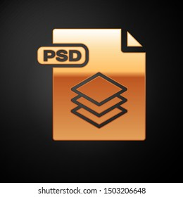 Gold PSD file document. Download psd button icon isolated on black background. PSD file symbol.  Vector Illustration