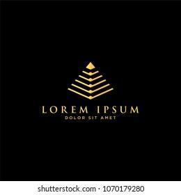 gold pyramid logo luxury icon vector eps10