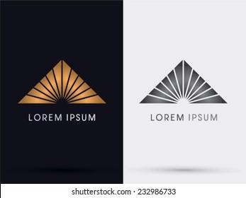Gold Pyramid, Triangle abstract icon, symbol, logo, Vector.