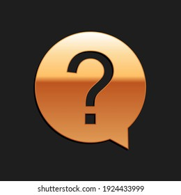 Gold Question mark in circle icon isolated on black background. Hazard warning symbol. Help symbol. FAQ sign. Long shadow style. Vector