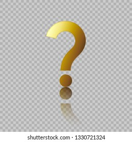 Gold question mark  icon. Vector illustration flat design for web, social media, app.