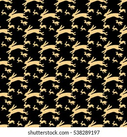 Gold rabbits running on a solid black background Hand drawn flat design seamless pattern.
