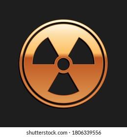 Gold Radioactive icon isolated on black background. Radioactive toxic symbol. Radiation Hazard sign. Long shadow style. Vector.