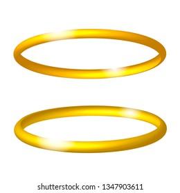 Gold realistic angel ring. Vector illustration.