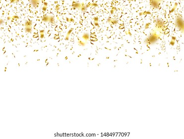 Gold realistic confetti and twisted ribbons on white background. Award ceremony decoration. Glossy festive serpentine isolated vector illustration. Wedding ceremony or anniversary celebration backdrop