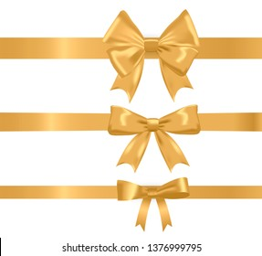 Gold realistic different ribbon bows set, vector illustration