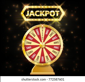 Gold realistic fortune wheel 3d object isolated on dark background with jackpot text. lucky fortune wheel e vector illustration
