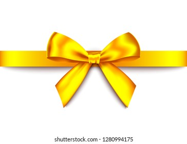 Gold  realistic gift bow with horizontal  ribbon isolated on white background. Vector golden  holiday design element  for banner, greeting card, poster.