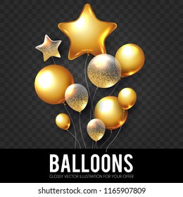 Gold Realistic Glossy and Transparent Balloons with Confetti. Holiday, Sale and Party Decoration. Birtday. Wedding, Greetings, Congratulations, Anniversary, Win and so on. Vector illustration