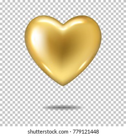 Gold realistic heart, isolated.