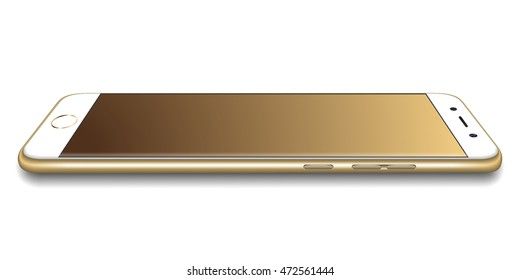 Gold Realistic High detailed smartphone 3d mockup. Vector smartphone illustration isolated. Cellphone perspective view.