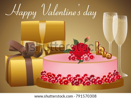 A Gold And Red Card For Valentines Day Or Birthday Gifts Glasses Of Champagne Cake Decorated With Flowers On This Holiday Illustration