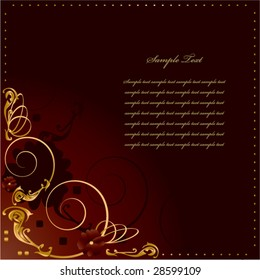 Gold red frame background 1 - vector