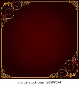 Gold red frame background 2 - vector