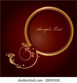 Gold red frame circular frame - vector